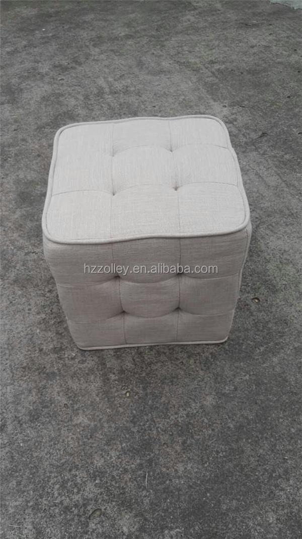 De color blanco beige copetudo uphostered tela pequeña forma ...