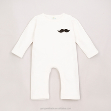 2015 new born baby rompers cute moustache design plain cotton baby romper for 0-3 years