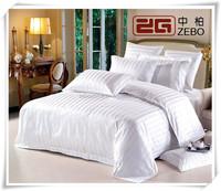 Hot Sell 300TC Stripe Fabric Hotel Used White100% Cotton Bedding Set
