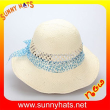 ladies girls straw bucket hat with wide brim bule bowknot