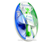 Green Shaving Razor Safety Stainless Steel 3 4 5 6 Blade and Comfortable Hand with Lubricant Strip one in Blister Card