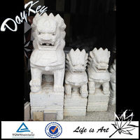 Different Size White Carved Stone Lion Statue