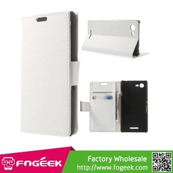 PU Leather Folio Case for for Sony Xperia E3 D2203 D2206 w/ Stand & Wallet