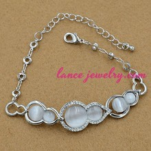 Italy Roma style white calabash shape opal with crystal decoration with thin chain opal bracelet