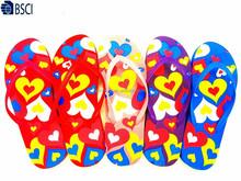 Manufacturer cheap fashion colorful silk printed PVC strap PE slippers beach flip flop for women