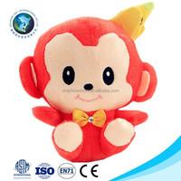 Fashion children toy plush toy monkey with banana funny cute red stuffed soft plush monkey toy