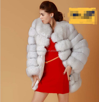 2014 european style winter Black/ White fox fur collar hooded woolen faux fur extra long coat