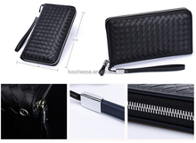 Men's leather wallet long section knit zipper wallet clutch leather bag