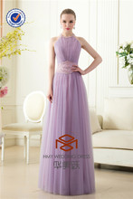 HMY-E0080 Ruffled Tulle Beaded Waist Jewels Design Evening Dresses Halter with Cut-out Back