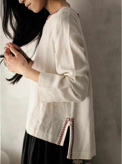 souline женщин осени новые старинные вышивки одежда бренда 2015 женщин твердых o шея Повседневная рубашка sl4202