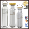 750ml double wall stainless steel hot and cold insulated sports drinks water bottle with bamboo lid