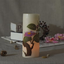Fragrant Spring Style Vanilla-scented Yellow Flickering Flameless LED Wax Candle With Blooming Flower Printed