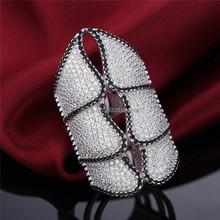 DLY Full finger butterfly ring, black diamond pave setting ring 925 sterling silver