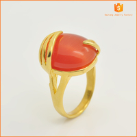 Red opals with Ion plating gold ring , stainless steel opals ring