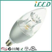 Soft White 3000K Clear LED Candle Light 120V Dimmable 5W E14 Led Candle Bulb 2700K