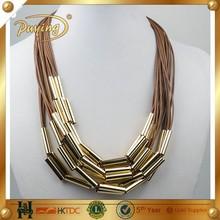 retro atacado jóias tubo de metal pingente de colar de cobre