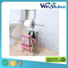 Bathroom Metal organizers for shelving rack shelf storages chrome magazine and toilet paper holder