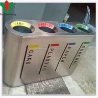 recycling stainless steel segregated waste bin for sale