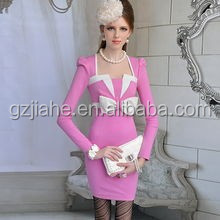 2015 Long sleeve autumn charming dress with bowknot