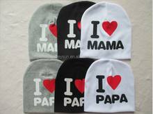 "baby hat ""i love mama"" "" i love papa""baby cap infant cap Cotton Skull Caps"