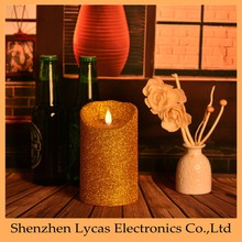 Electric LED Light moving wick Flame unscented Candle with Auto Timer