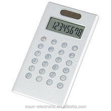Solar power Cheapest promotional elegant super slim Desktop Brushed aluminum case digtial calculator office pocket caculator