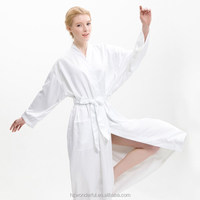 white kimono microfiber plush with terry inside contain 100%cotton natural material latest gown designs for spa and hotel bathro