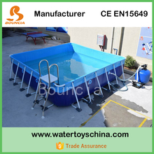 13ft*13ft Metal Frame Swimming Pool For Backyard , Square Metal Frame Pool With Cover For Sale