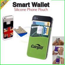 logo print mobile phone smart wallet silicone card pocket