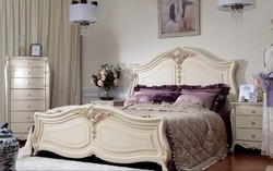 elegant antique french style romaic ivory white solid wood European style carved classic bedroom royal palace home furniture