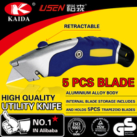 Heavy Duty aluminium alloy cutter knife for daily use( 61 * 19mm carbon steel blade +5 PC blade)