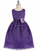Purple Floral Pattern Fashion Design Girl Lace Dress Of 9 Years Old.
