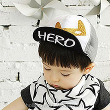 New Design Cat Gilding Children Baseball Caps HERO Turnup Brim Hiphop Mesh Kids Hats