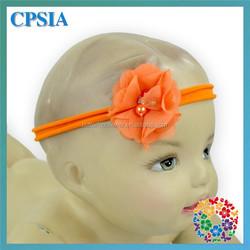Trendy Orange Elastic Headband Chiffon Flower Designer Bridal Hair Accessories