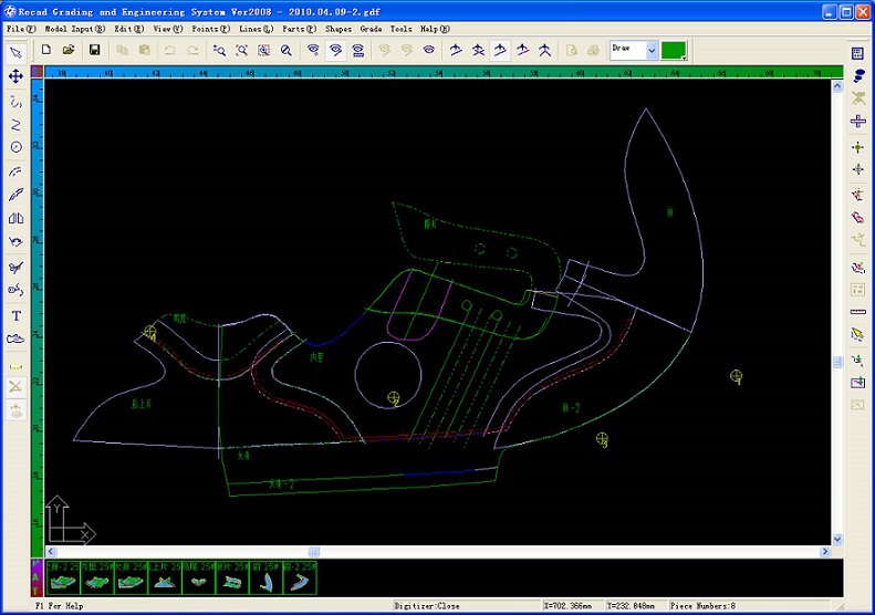 Simple 2d cad shoe parts sizes making software buy shoe Simple 2d cad
