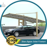 Aluminum Attached Solid shade sail carport with pc shelter LR- single model