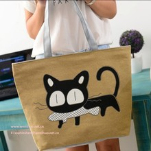 Fashion Leisure Canvas Bag Cats Eat Fish Cartoon Tote Bag