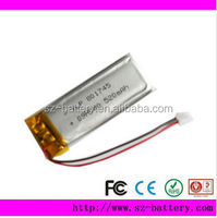 3.7v 520mah soft lithium-ion battery pack Shenzhen factory