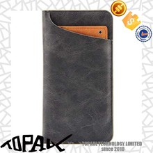 Smart mobile phone case leather for iphone 5, flip stand cover with hard card bags for iphone 6