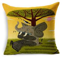 0525L-04 The monkey whale lion bears elephant colourful cartoon cushion cover