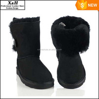 factory Free shipping Australia classic singel button waterproof cowhide genuine leather snow boots winter shoes for women
