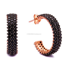 New Arrival Handmade Wholesale 3 Rows Onyx Stone Jewelry Rose Gold Plated 925 Sterling Silver Earring