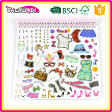 Popular big size diy drawing book with colour pen and sticker with laser cover