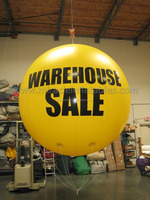 Giant yellow inflatable lighted helium balloon with logo printings C4031
