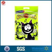 Plastic Halloween handle carry die cut bags cat print