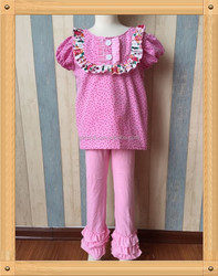 High quality short sleeve top matching baby pink double ruffle leggings online shopping for wholesale clothing