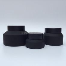 frosted black slanted shoulder cosmetic glass jar cream galss jar