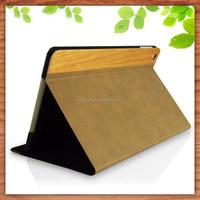 OEM manufacture wood flip smart pu leather cover case for ipad mini 3
