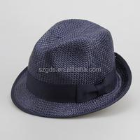 Stable in-stock black fedora hats wholesale short Brim Unisex 100% polyester cheap Fedora felt Hatsfedora hat custom logo band