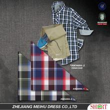 2015 New design 50s brushed men contrast color plaid casual shirt , men garment